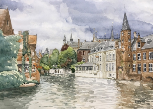 """""""Canal de Bruges"""", 2017, aquarelle, 13"""" x 19"""", 150$ ©"""