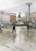 """""""Milan sous la pluie"""", 2017, aquarelle, 14"""" x 10"""", VENDU ©"""