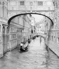"""""""Soupir à Venise"""", 2018, crayon graphite, 20"""" x 17"""", VENDU ©"""