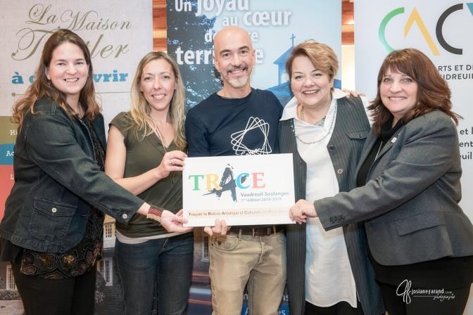 Valérie Filion de la Maison Trestler, Fabienne Legrand co-récipiendaire de la bourse TRACE, Dominic Besner artiste de renom, moi et Chantal Séguin.