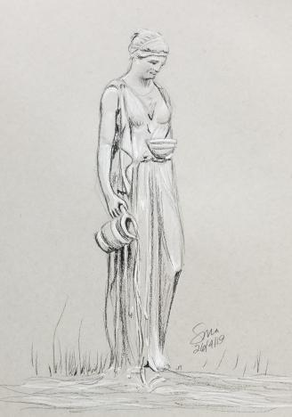 """Verseau, 2019, pierre noire et fusain blanc, 10""""x8"""", 75$©"""